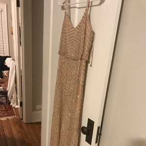 Champagne/beige Adrianna Pappell beaded gown